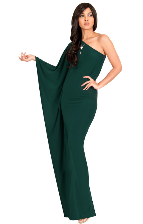 CYNTHIA - One Shoulder Cocktail Bridesmaid Evening Maxi Dress Gown