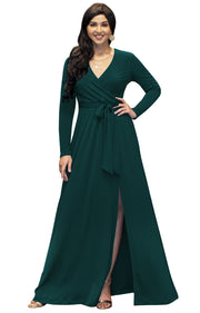 ANALISE - Long Sleeve Maxi Dress Maternity Flowy Cross Over V-Neck
