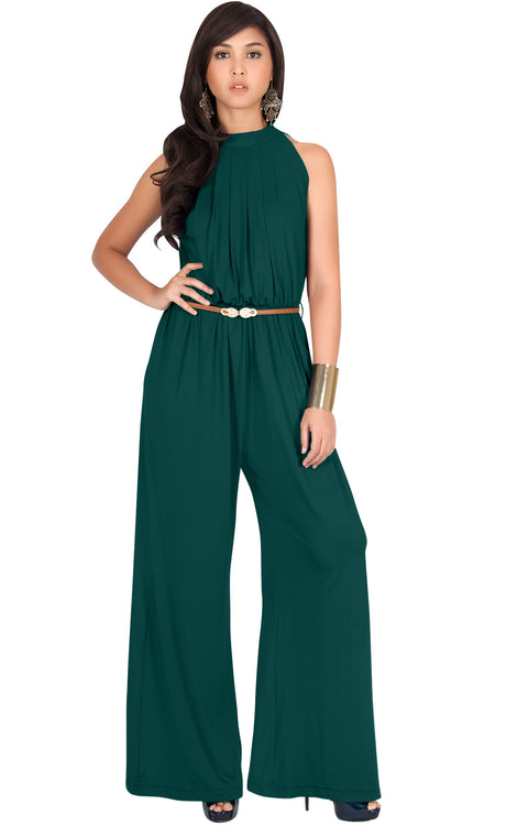 HOPE - Long Halter Flared Sexy Sleeveless Pants Suits Jumpsuit Romper