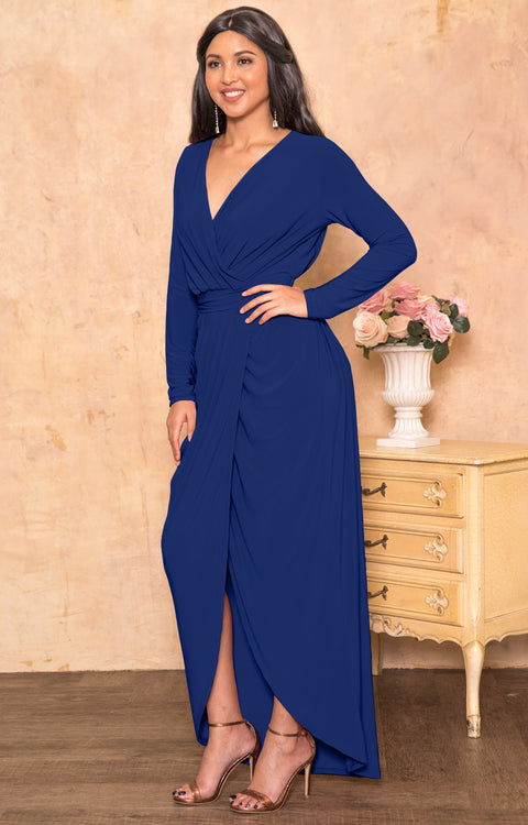FAITH - Long Sleeve V-neck Fall Winter Elegant Evening Maxi Dress Gown