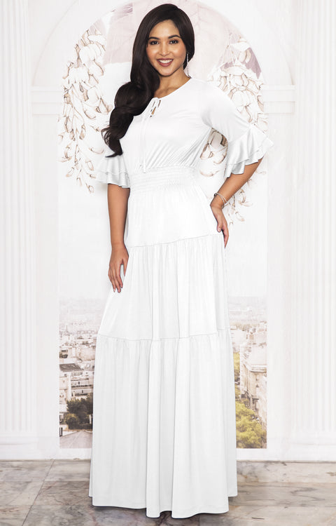 SELENA - Long Half Sleeve Vintage Flowy Casual Peasant Maxi Dress Gown