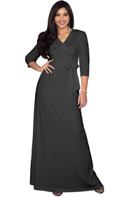 REESE - Long Sleeve Maxi Dress Evening Gown 3/4 Empire Waist V-Neck