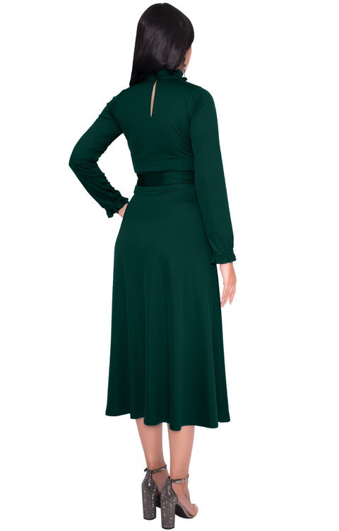 DOROTHY - Long Sleeve Modest Fall Formal Pockets Vintage Midi Dress