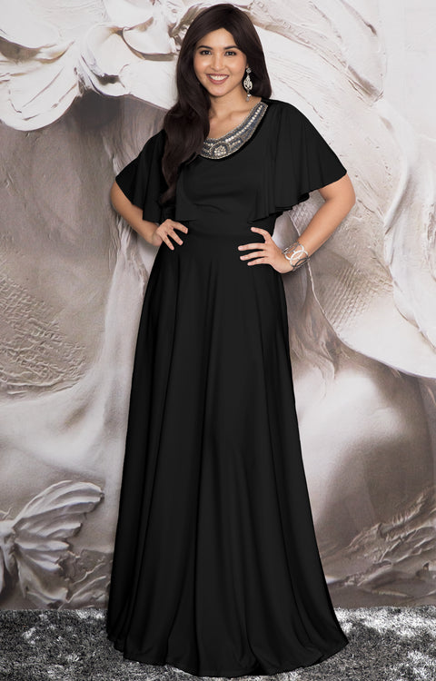 RAVON - Short Ruffle Sleeves Chic Casual Holiday Long Maxi Dress Gown - Black
