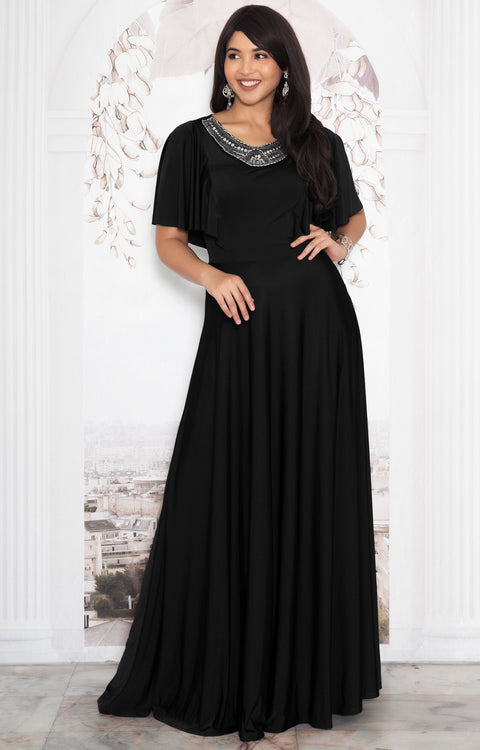RAVON - Short Ruffle Sleeves Chic Casual Holiday Long Maxi Dress Gown