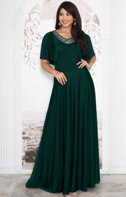RAVON - Short Ruffle Sleeves Chic Casual Holiday Long Maxi Dress Gown - Emerald Green