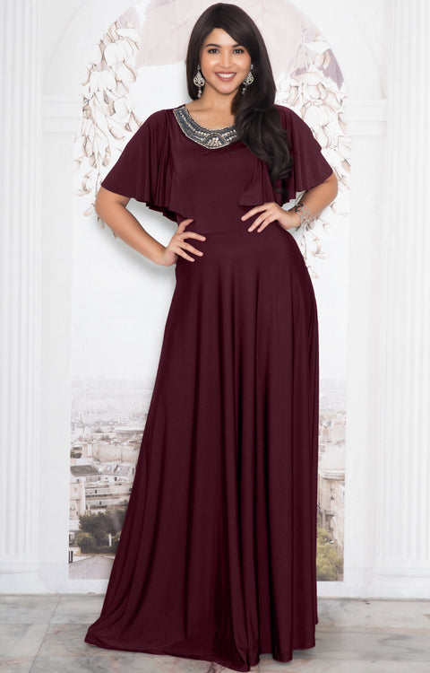 RAVON - Short Ruffle Sleeves Chic Casual Holiday Long Maxi Dress Gown - Maroon Wine Red