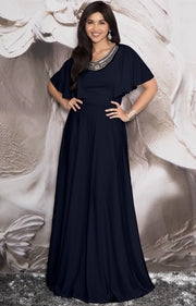 RAVON - Short Ruffle Sleeves Chic Casual Holiday Long Maxi Dress Gown - Dark Navy Blue