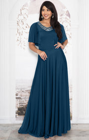 RAVON - Short Ruffle Sleeves Chic Casual Holiday Long Maxi Dress Gown - Blue Teal
