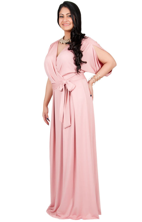 Adelyn & Vivian Plus Size Batwing Sleeve Cocktail Elegant Maxi Dress