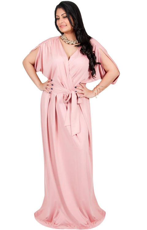 Adelyn & Vivian Plus Size Batwing Sleeve Cocktail Elegant Maxi Dress - Baby Light Pink / 2X Large