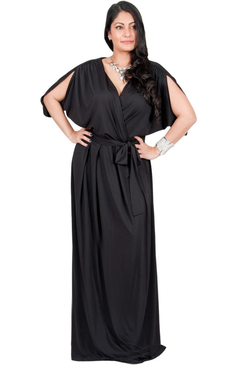 Adelyn & Vivian Plus Size Batwing Sleeve Cocktail Elegant Maxi Dress - Black / 2X Large