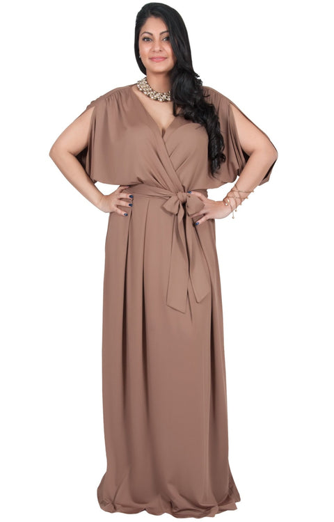 Adelyn & Vivian Plus Size Batwing Sleeve Cocktail Elegant Maxi Dress - Brown / Latte / 2X Large