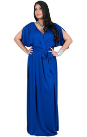 Adelyn & Vivian Plus Size Batwing Sleeve Cocktail Elegant Maxi Dress - Cobalt / Royal Blue / 2X Large