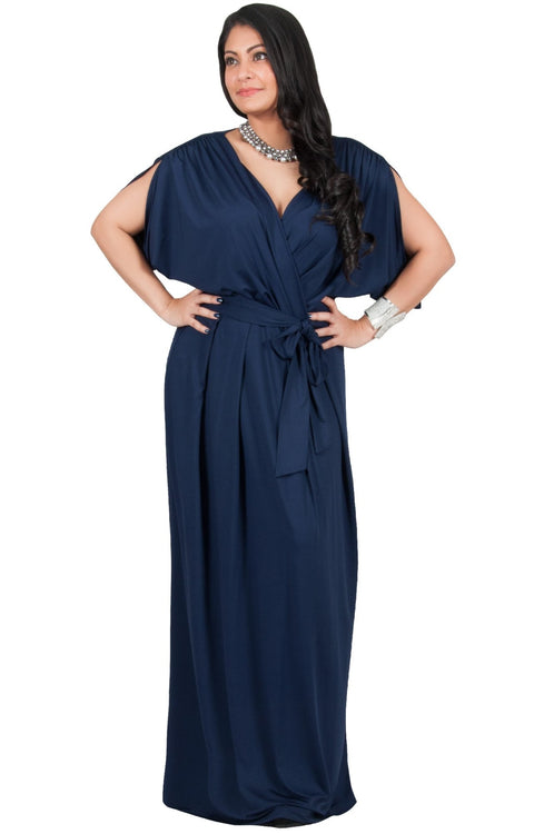 Adelyn & Vivian Plus Size Batwing Sleeve Cocktail Elegant Maxi Dress - Dark Navy Blue / Extra Large