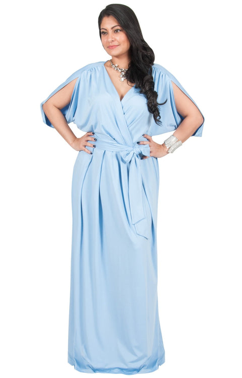 Adelyn & Vivian Plus Size Batwing Sleeve Cocktail Elegant Maxi Dress - Sky Baby Light Blue / 2X Large
