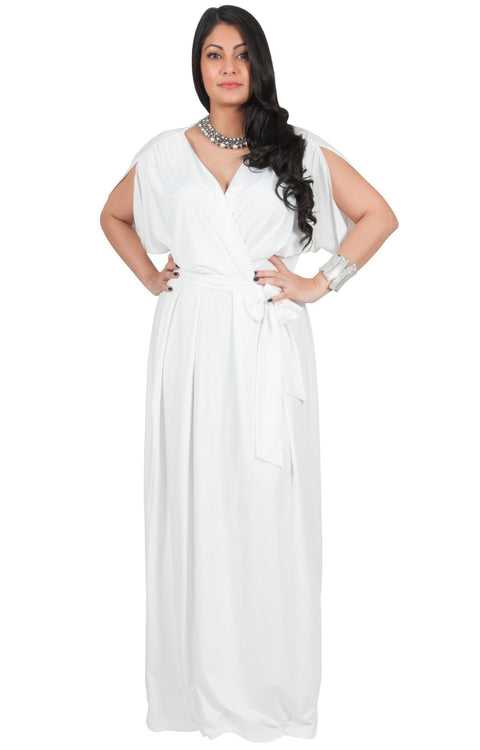 Adelyn & Vivian Plus Size Batwing Sleeve Cocktail Elegant Maxi Dress - White / 2X Large