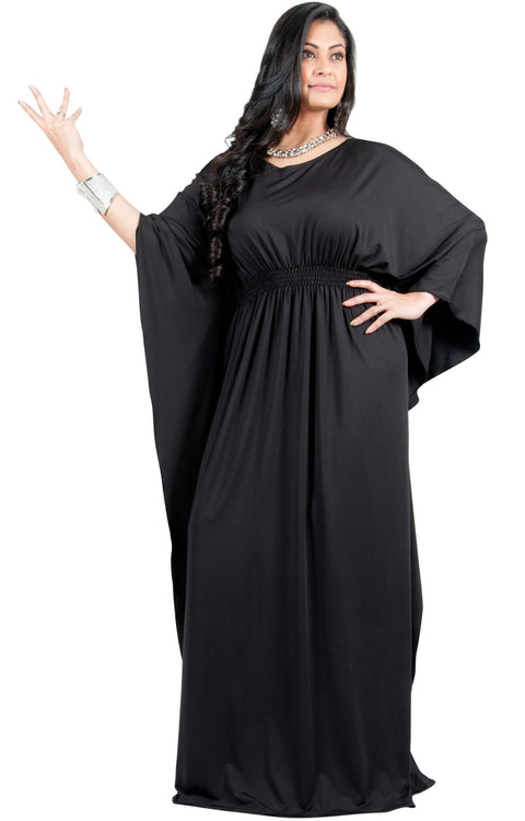 Adelyn & Vivian Plus Size Kaftan Half Sleeve Long Maxi Dress - Black / 2X Large