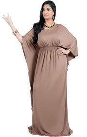 Adelyn & Vivian Plus Size Kaftan Half Sleeve Long Maxi Dress - Brown Latte / Extra Large