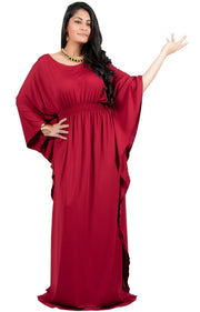 Adelyn & Vivian Plus Size Kaftan Half Sleeve Long Maxi Dress - Claret Crimson Red / 2X Large