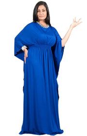 Adelyn & Vivian Plus Size Kaftan Half Sleeve Long Maxi Dress - Cobalt Royal Blue / Extra Large