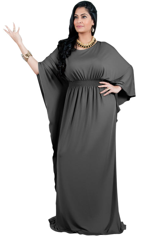 Adelyn & Vivian Plus Size Kaftan Half Sleeve Long Maxi Dress - Pewter Gray Grey / Extra Large