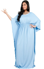 Adelyn & Vivian Plus Size Kaftan Half Sleeve Long Maxi Dress - Sky Baby Light Blue / 2X Large