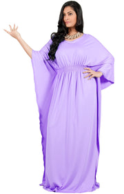 Adelyn & Vivian Plus Size Kaftan Half Sleeve Long Maxi Dress - Violet Light Purple / Extra Large