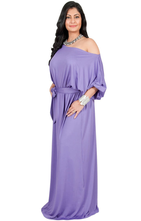Adelyn & Vivian Plus Size Maxi Dress 3/4 Sleeve One Shoulder Formal