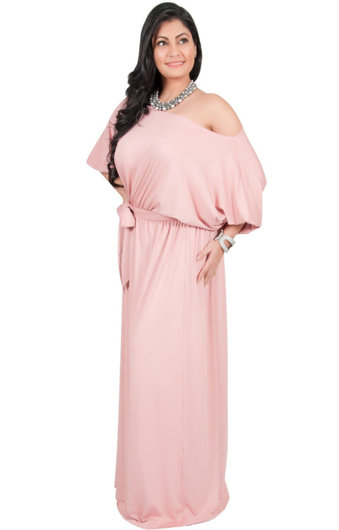 Adelyn & Vivian Plus Size Maxi Dress 3/4 Sleeve One Shoulder Formal - Baby Light Pink / 2X Large
