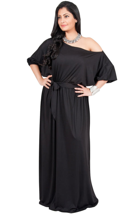 Adelyn & Vivian Plus Size Maxi Dress 3/4 Sleeve One Shoulder Formal - Black / 2X Large