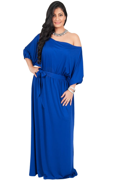 Adelyn & Vivian Plus Size Maxi Dress 3/4 Sleeve One Shoulder Formal - Cobalt Royal Blue / Extra Large