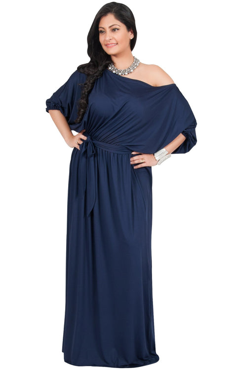 Adelyn & Vivian Plus Size Maxi Dress 3/4 Sleeve One Shoulder Formal - Dark Navy Blue / Extra Large