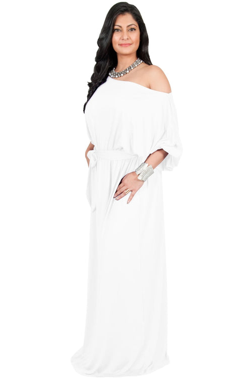 Adelyn & Vivian Plus Size Maxi Dress 3/4 Sleeve One Shoulder Formal - Ivory White / 2X Large