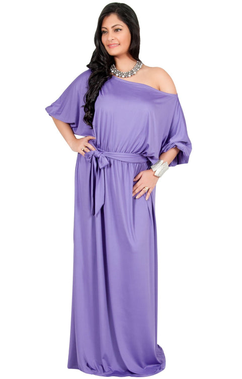 Adelyn & Vivian Plus Size Maxi Dress 3/4 Sleeve One Shoulder Formal - Violet Light Purple / 2X Large