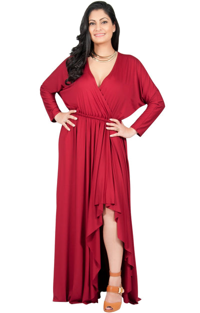 Adelyn & Vivian Plus Size Maxi Dress Crossover Split Ruffle Long Sexy - Claret Crimson Red / 2X Large