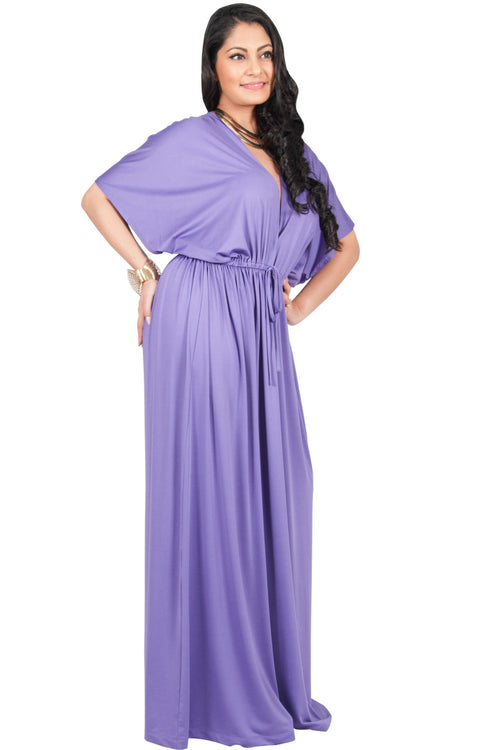 Adelyn & Vivian Plus Size Maxi Dress V-Neck Kimono Sleeve Cocktail