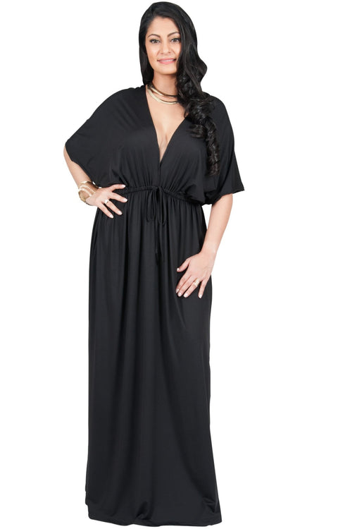 Adelyn & Vivian Plus Size Maxi Dress V-Neck Kimono Sleeve Cocktail - Black / 2X Large