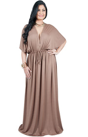 Adelyn & Vivian Plus Size Maxi Dress V-Neck Kimono Sleeve Cocktail - Brown Latte / Extra Large