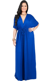 Adelyn & Vivian Plus Size Maxi Dress V-Neck Kimono Sleeve Cocktail - Cobalt Royal Blue / Extra Large
