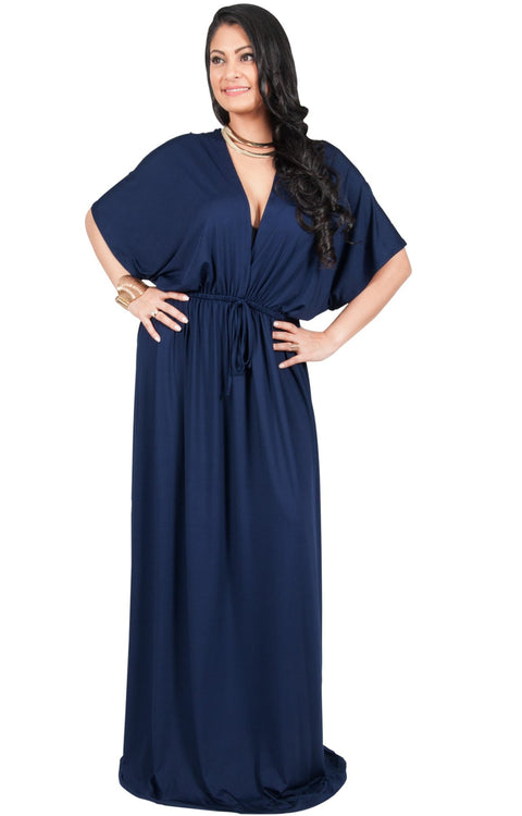 Adelyn & Vivian Plus Size Maxi Dress V-Neck Kimono Sleeve Cocktail - Dark Navy Blue / 2X Large