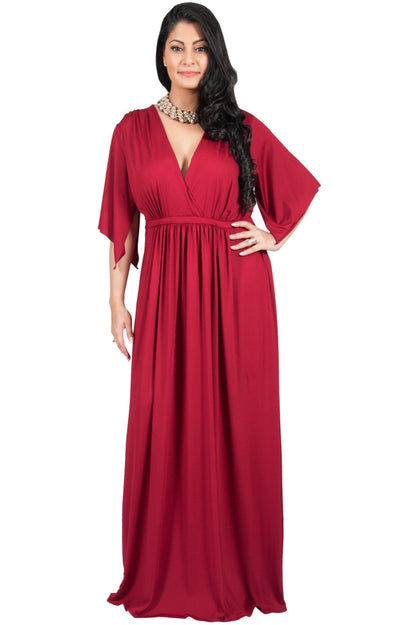 Adelyn & Vivian Plus Size Maxi Dress V-Neck Short Sleeve Cocktail - Dusty Pink / 2X Large