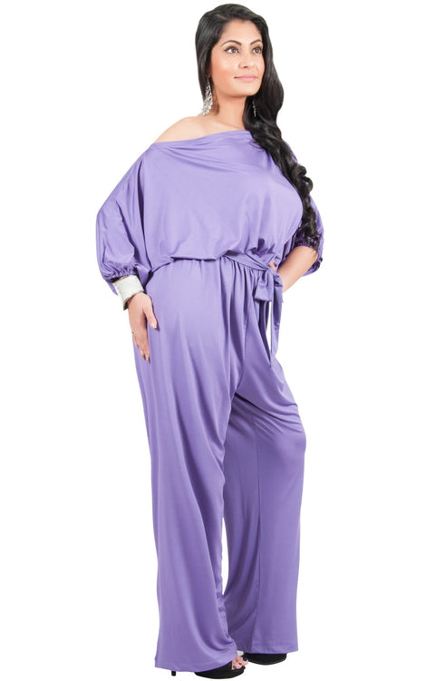 Adelyn & Vivian Plus Size Off Shoulder 3/4 Sleeve Casual Evening Jumpsuit