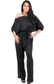 Adelyn & Vivian Plus Size Off Shoulder 3/4 Sleeve Casual Evening Jumpsuit - Black / 2X Large