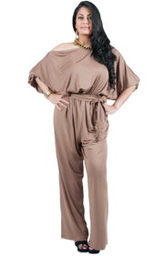 Adelyn & Vivian Plus Size Off Shoulder 3/4 Sleeve Casual Evening Jumpsuit - Brown Latte / Extra Large