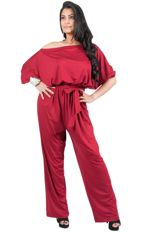 Adelyn & Vivian Plus Size Off Shoulder 3/4 Sleeve Casual Evening Jumpsuit - Claret Crimson Red / 2X Large