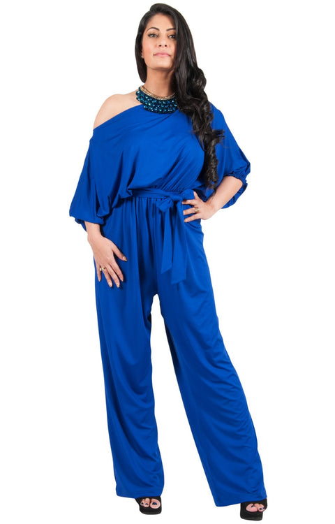 Adelyn & Vivian Plus Size Off Shoulder 3/4 Sleeve Casual Evening Jumpsuit - Cobalt Royal Blue / Extra Large