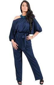 Adelyn & Vivian Plus Size Off Shoulder 3/4 Sleeve Casual Evening Jumpsuit - Dark Navy Blue / 2X Large
