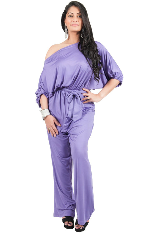 Adelyn & Vivian Plus Size Off Shoulder 3/4 Sleeve Casual Evening Jumpsuit - Violet Light Purple / 2X Large