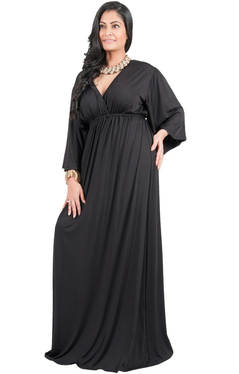 Adelyn & Vivian Plus Size V-Neck Long Kimono Sleeve Formal Maxi Dress